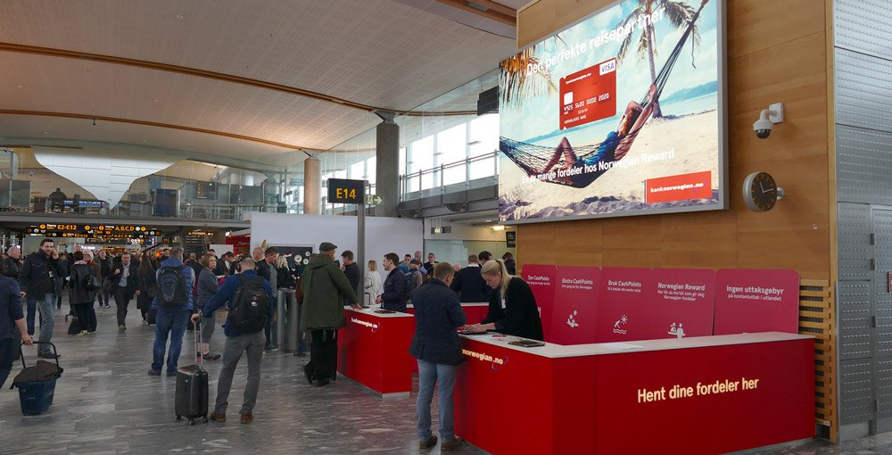 Bilde av stand hvor Bank Norwegian selger sine produkter.